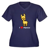 I Love Alpacas Women's Plus Size V-Neck Dark T-Shi