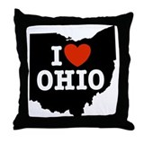 I Love Ohio Throw Pillow