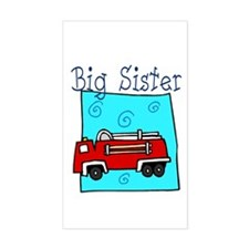 Firetruck Big Sister Rectangle Decal