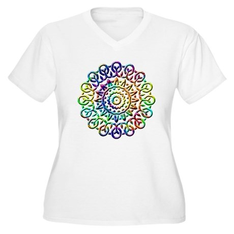 Rainbow Knots Women's Plus Size V-Neck T-Shirt