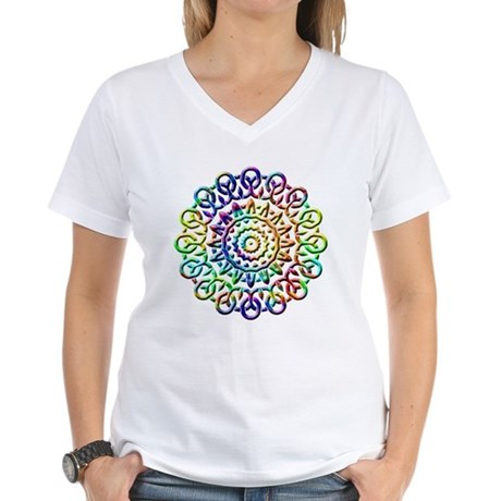 Rainbow Knots Women's V-Neck T-Shirt