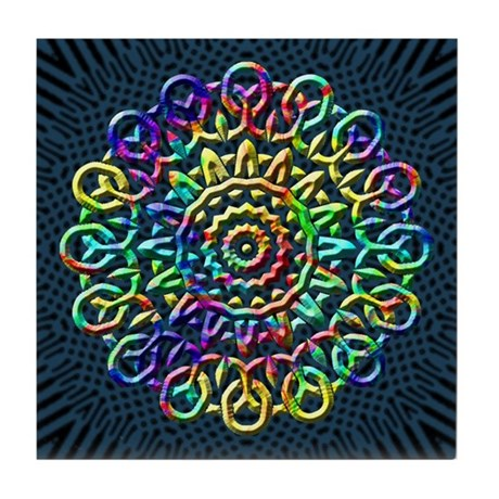 Rainbow Knots Tile Coaster
