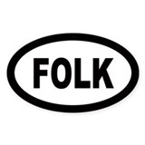 Folk Oval Bumper Stickers