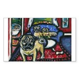 House o pugs Rectangle Sticker 50 pk)