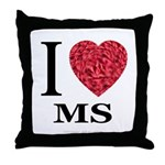 I Love MS Throw Pillow