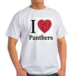 I Love Panthers Ash Grey T-Shirt