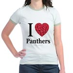 I Love Panthers Jr. Ringer T-Shirt
