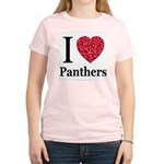 I Love Panthers Women's Pink T-Shirt