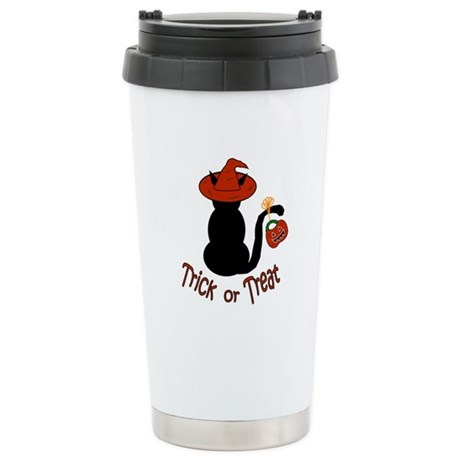Halloween Cat in the Hat Ceramic Travel Mug