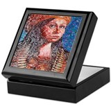 Brown Beret Mosaic Keepsake Box