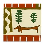 Country Dachshund Tile Coaster