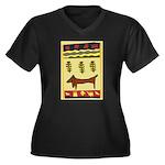 Weiner Dog Women's Plus Size V-Neck Dark T-Shirt