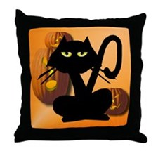 Plain Black Kitty Halloween Throw Pillow