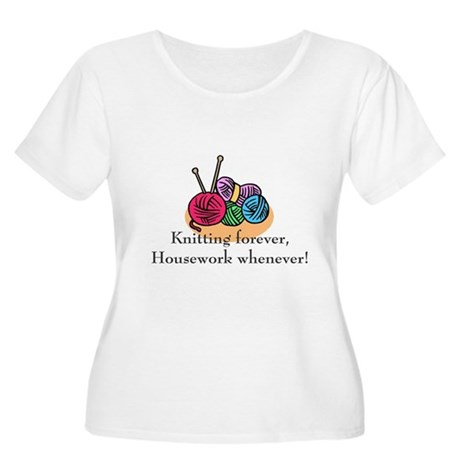 Knitting Women's Plus Size Scoop Neck T-Shirt