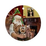 Santa's 3 Yorkshire Terriers Ornament (Round)