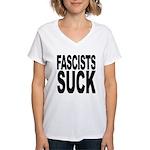 Fascists Suck Women's V-Neck T-Shirt