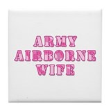 Army Airborne Wife Pink Camo Tile Coaster