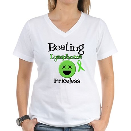 Beating Lymphoma Women's V-Neck T-Shirt