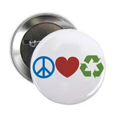 "Peace, Love, Recycle 2.25"" Button (10 pack)"