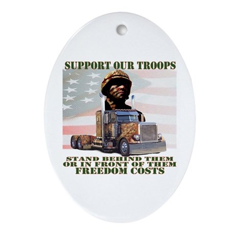 Truckers Supporting Our Troop Oval Ornament