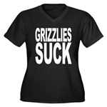 Grizzlies Suck Women's Plus Size V-Neck Dark T-Shi