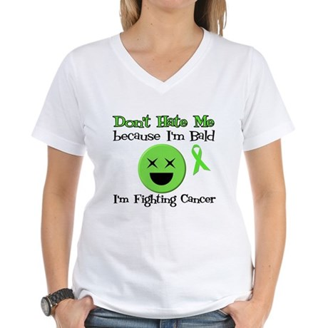 Bald Fighting Cancer Women's V-Neck T-Shirt