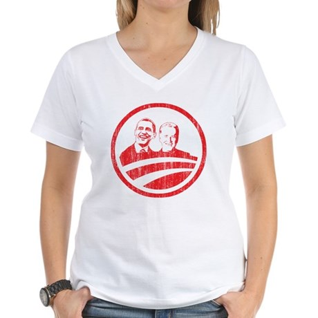 Obama Biden (red vintage face Women's V-Neck T-Shi