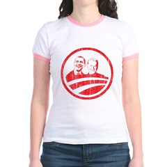Obama Biden (red vintage face Jr. Ringer T-Shirt
