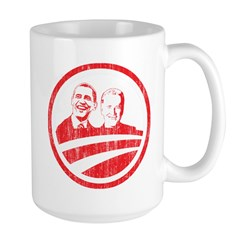 Obama Biden (red vintage face Large Mug