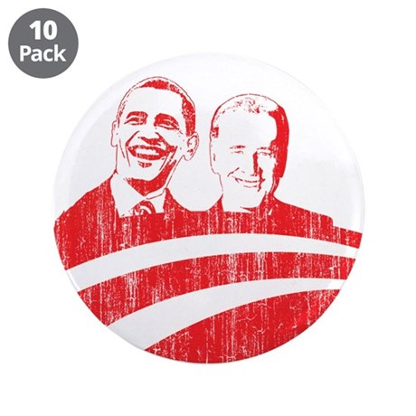 "Obama Biden (red vintage face 3.5"" Button (10 pack"