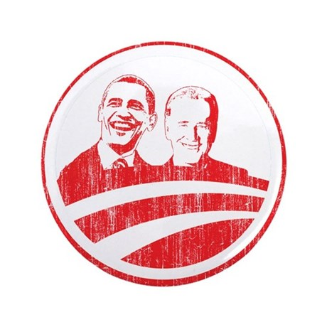 "Obama Biden (red vintage face 3.5"" Button"