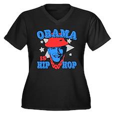 Obama is Hip Hop Womens Plus Size V-Neck Dark T-S