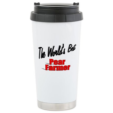 """The World's Best Pear Farmer"" Ceramic Travel Mug"