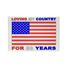 Patriotic 80th Birthday Rectangle Magnet (100 pack
