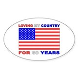 Patriotic 60th Birthday Oval Decal
