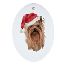 Christmas Yorkshire Terrier Oval Ornament