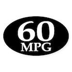 60 mpg (mileage oval bumper sticker)