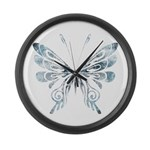 Blue Tribal Butterfly Tattoo Large Wall Clock