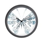 Blue Tribal Butterfly Tattoo Wall Clock