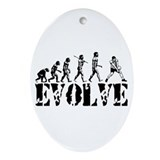 Volleyball Evolution Oval Ornament