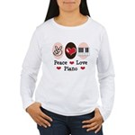 Peace Love Piano Women's Long Sleeve T-Shirt