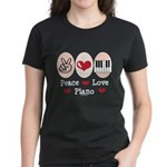 Peace Love Piano Women's Dark T-Shirt