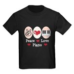 Peace Love Piano Kids Dark T-Shirt