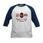 Peace Love Piano Kids Baseball Jersey