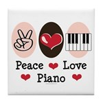 Peace Love Piano Tile Coaster