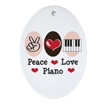 Peace Love Piano Oval Ornament