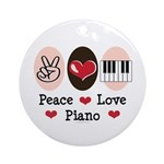 Peace Love Piano Ornament (Round)