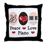 Peace Love Piano Throw Pillow