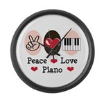 Peace Love Piano Large Wall Clock