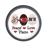 Peace Love Piano Wall Clock
